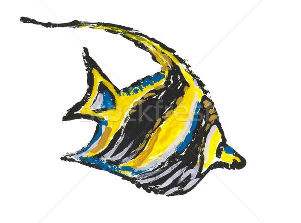 Mar vermelho bandeira peixe isolado pintado imagem Foto stock © vavlt