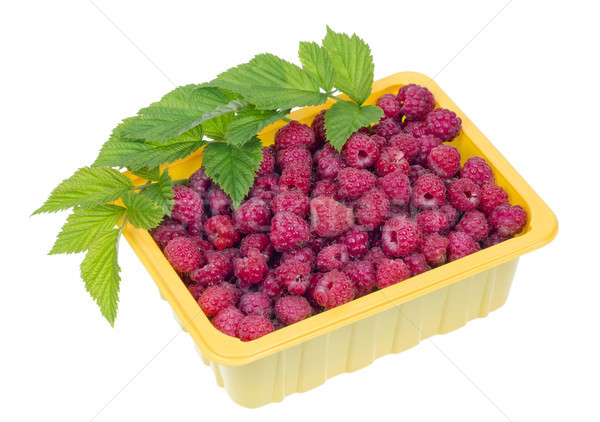 raspberries in a yellow plastic container Stock photo © vavlt