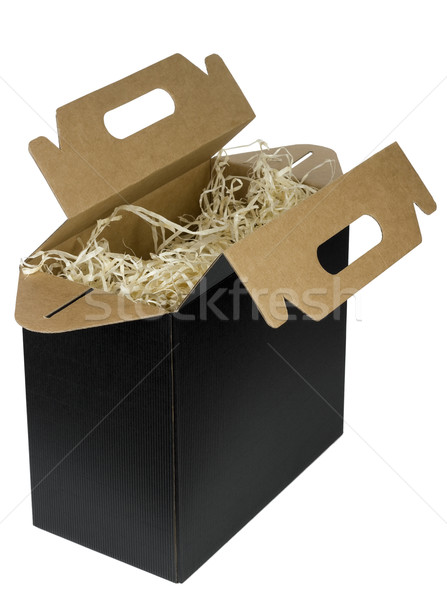 Black opened  box for bottles Stock photo © vavlt