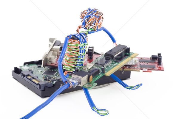 Twisted man assemblage the computer Stock photo © vavlt