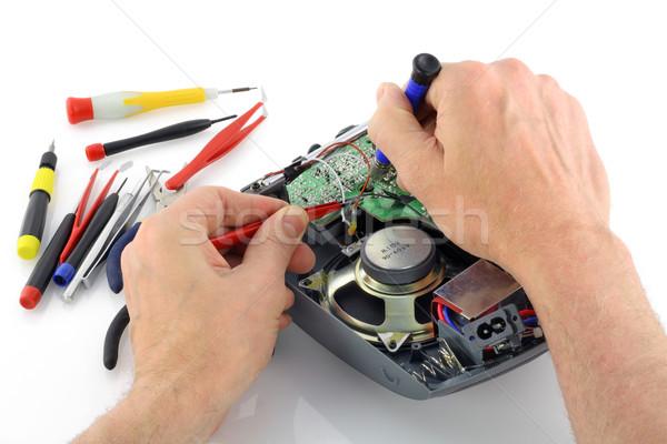 Javítás rádió technikus izolált fehér kéz Stock fotó © vavlt