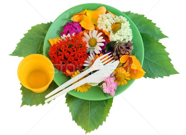 çiçek diyet taze çiçekler plaka Stok fotoğraf © vavlt