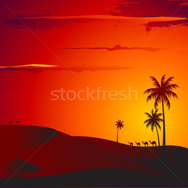 Foto stock: Pôr · do · sol · deserto · ilustração · ver · palmeira · céu