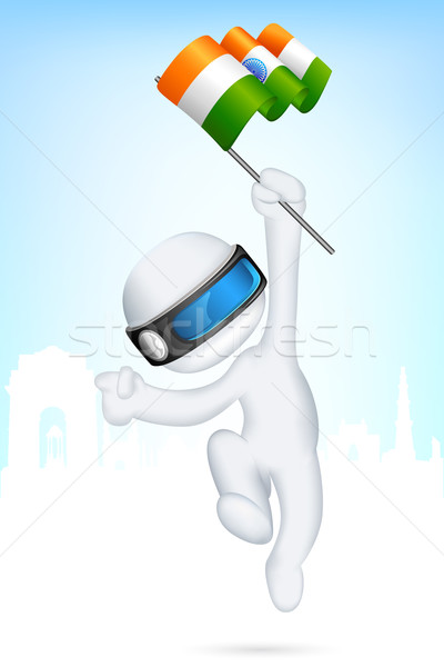 3d Man in Vector with Indian Flag Stock photo © vectomart