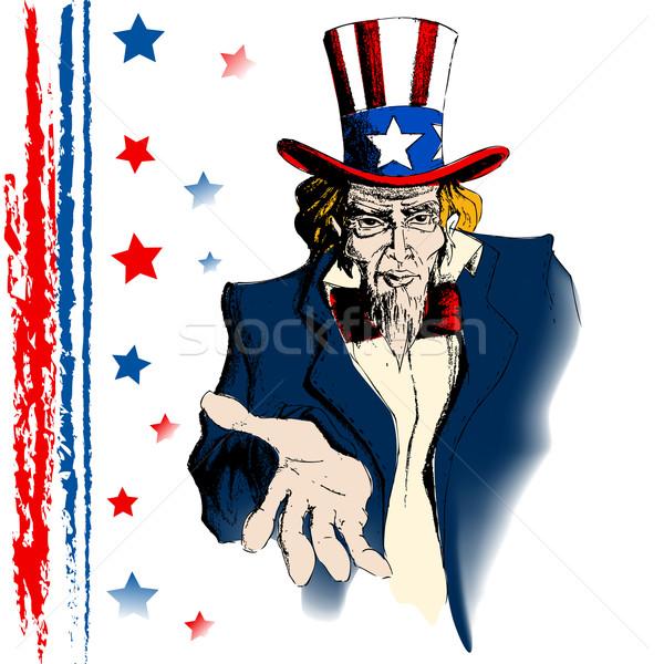 Amca örnek portre amerikan bayrağı savaş mavi Stok fotoğraf © vectomart