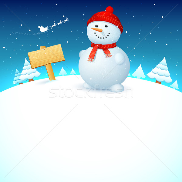 Рождества снеговик иллюстрация пейзаж ночь счастливым Сток-фото © vectomart