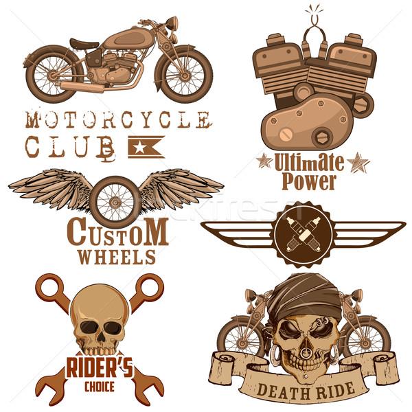 Moto illustration vintage crâne route Photo stock © vectomart
