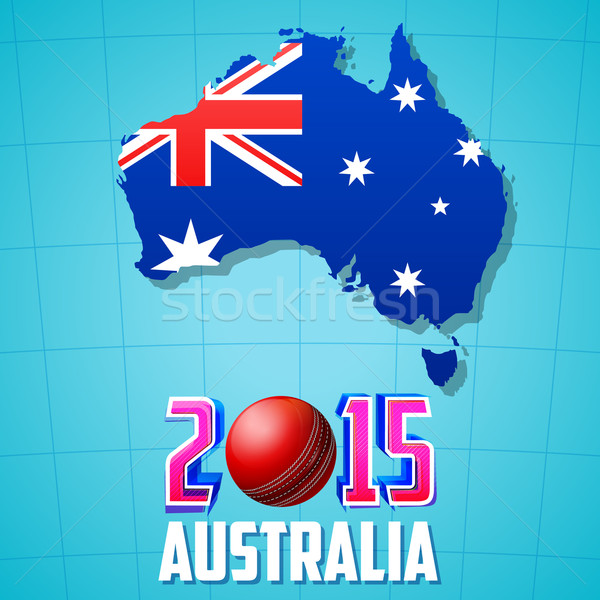 Stock photo: 2015 Cricket with Australia map and flag