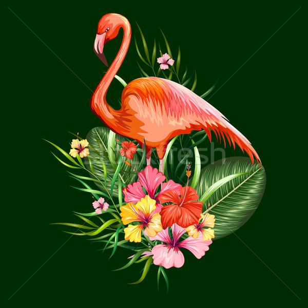 Egzotikus trópusi illusztráció flamingó virág tavasz Stock fotó © vectomart