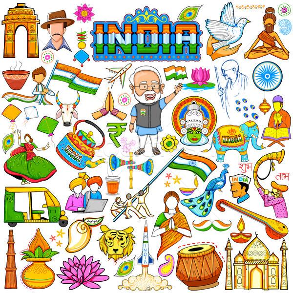 Foto stock: Conjunto · belo · indiano · feliz · dia