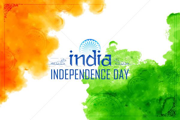 Soyut üç renkli Hint bayrak suluboya mutlu Stok fotoğraf © vectomart