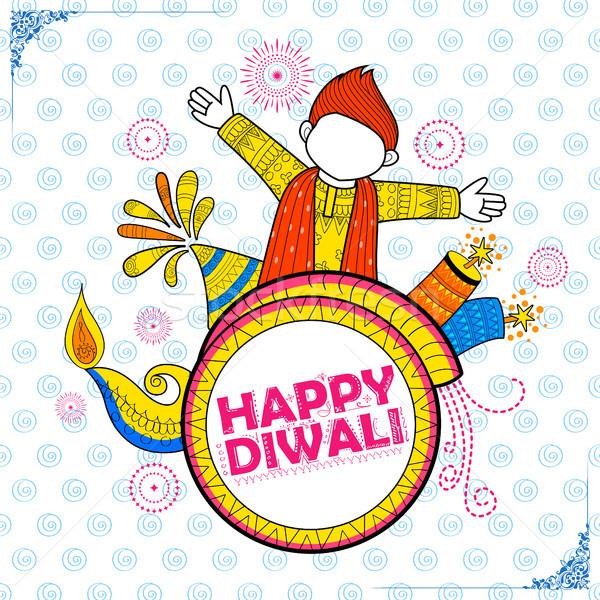 Stock photo: Kid celebrating happy Diwali Holiday doodle background for light festival of India