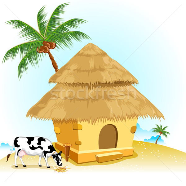 Hut with Cow Stock photo © vectomart