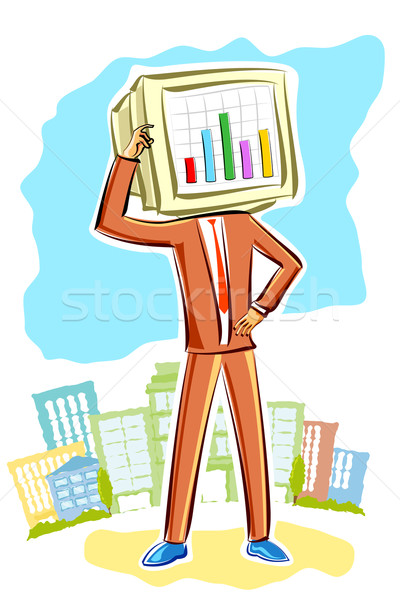 Businessman with bar graph Stock photo © vectomart