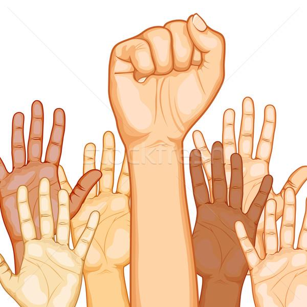 Racial as mãos levantadas ilustração mão diferente Foto stock © vectomart
