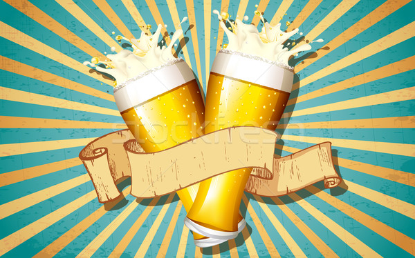 Beer Glass in Retro Background Stock photo © vectomart