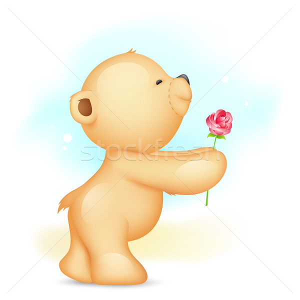 Teddy Bear proposing with Rose Stock photo © vectomart