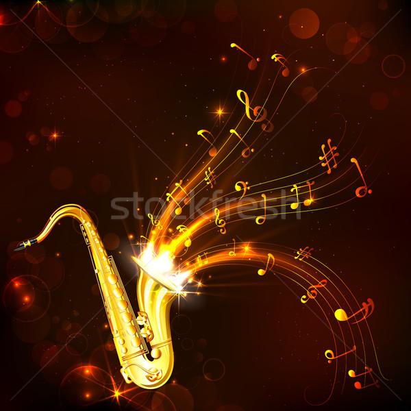 Música melodía saxófono ilustración ondulado fondo Foto stock © vectomart