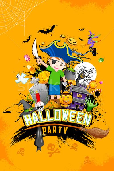 Halloween parti örnek cadılar bayramı kabak kafatası Stok fotoğraf © vectomart
