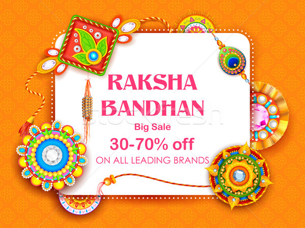 Sale and promotion banner poster with Decorative Rakhi for Raksha Bandhan, Indian festival of brothe Stock photo © vectomart
