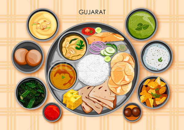 Traditional Gujarati cuisine and food meal thali of Gujarat India Stock photo © vectomart