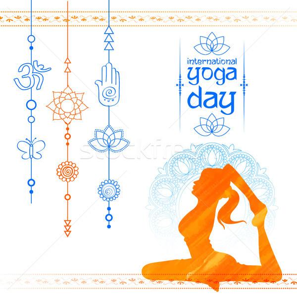 Internacional ioga dia ilustração mulher mundo Foto stock © vectomart