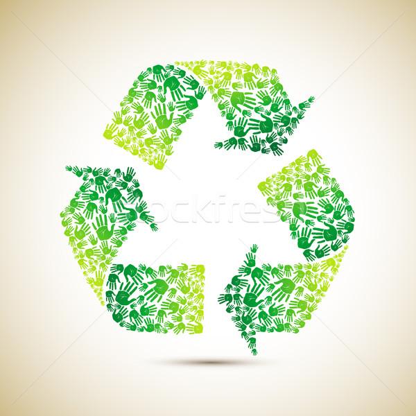 újrahasznosít emberi kéz illusztráció szimbólum tavasz kéz Stock fotó © vectomart