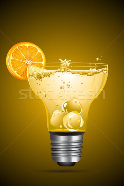 Koktajl żarówki szkła ilustracja pomarańczowy plasterka Zdjęcia stock © vectomart
