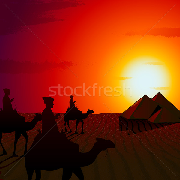 Foto stock: Pôr · do · sol · deserto · ilustração · pessoas · equitação · camelo