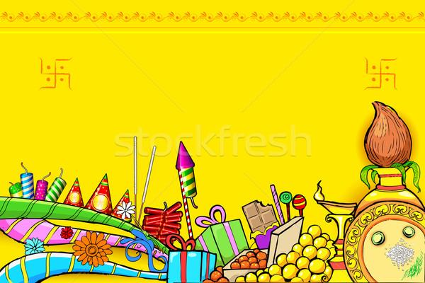 Diwali doodle illustration différent objet bonbons Photo stock © vectomart