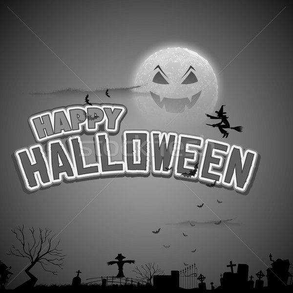 ведьмой Flying счастливым Хэллоуин иллюстрация фон Сток-фото © vectomart