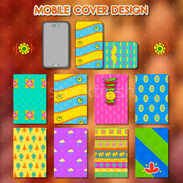 Indian kitsch style mobile cover template Stock photo © vectomart