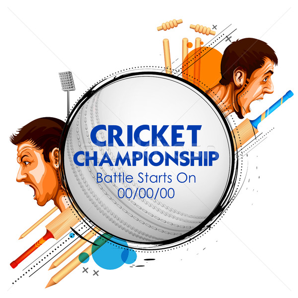 Cricket players of cricket championship and VS versus Stock photo © vectomart