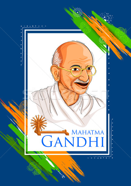 Tricolor India background with Nation Hero and Freedom Fighter Mahatma Gandhi for Independence Day o Stock photo © vectomart