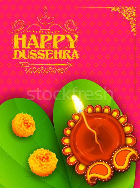Sona patta for wishing Happy Dussehra Stock photo © vectomart