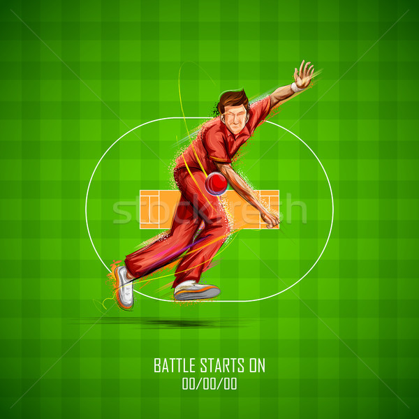 Bowler bowling in cricket championship sports Stock photo © vectomart