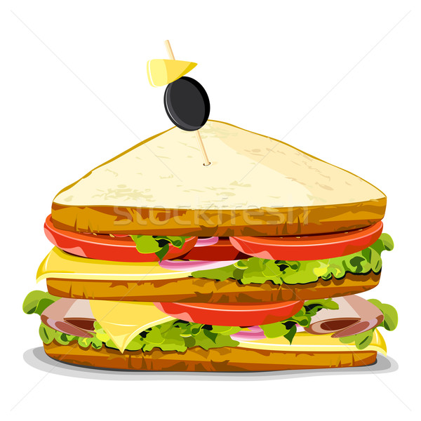 Sandwich illustration isolé alimentaire dîner Photo stock © vectomart