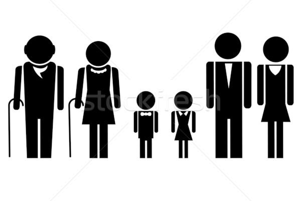 Teljes család illusztráció ikon áll együtt Stock fotó © vectomart