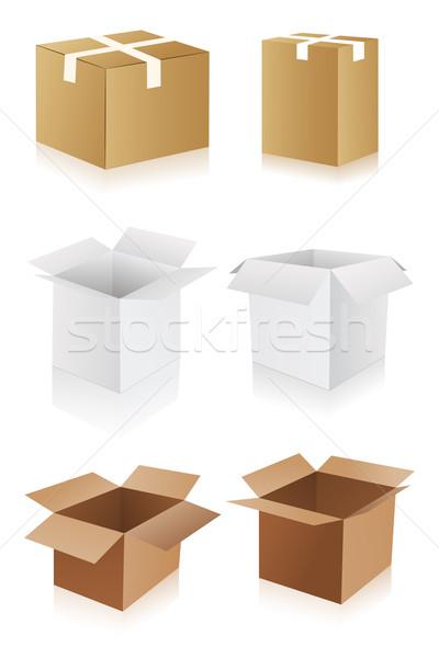 иллюстрация различный форма картона коробки Сток-фото © vectomart