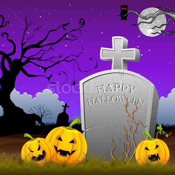 тыква вокруг могилы каменные иллюстрация Хэллоуин Сток-фото © vectomart