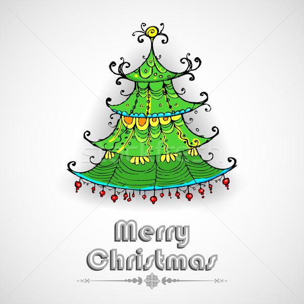украшенный сосна иллюстрация дерево природы Сток-фото © vectomart