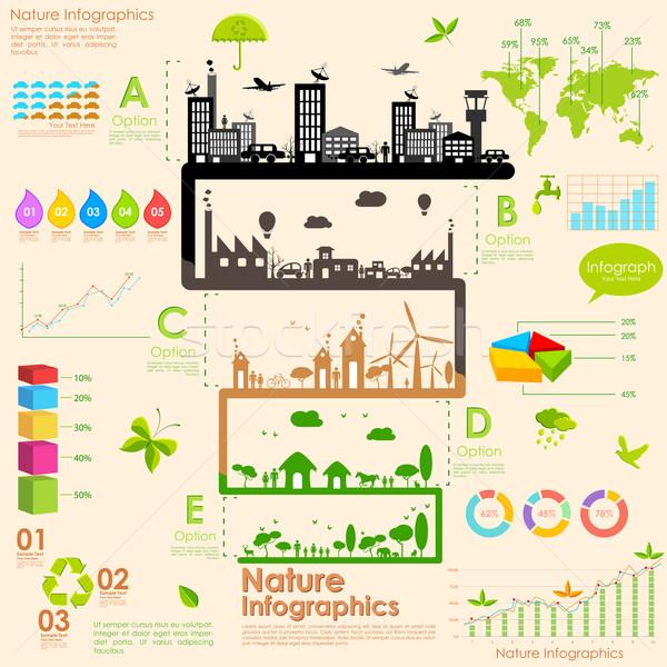 Sustentabilidade ilustração árvore fábrica industrial Foto stock © vectomart