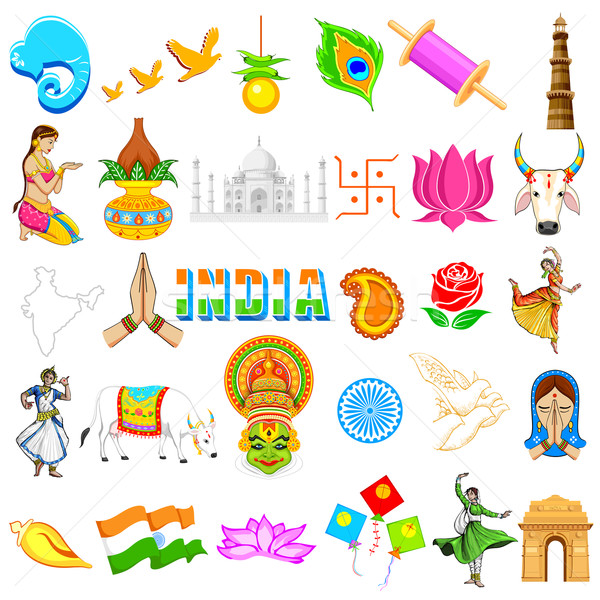 Indian Symbol Illustration Set Festivals Stock foto © vectomart