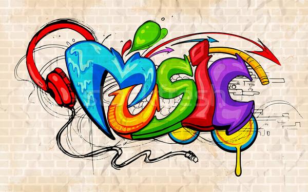 Graffiti stílus zene illusztráció textúra divat Stock fotó © vectomart