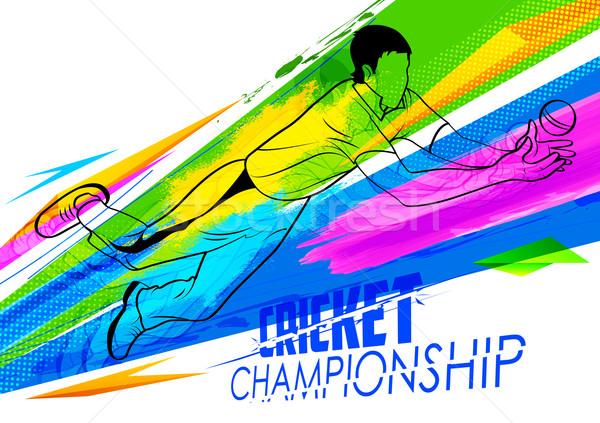 Jogador críquete campeonato ilustração esportes fundo Foto stock © vectomart