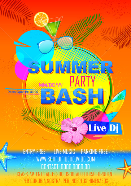 Summer Party poster design Stock photo © vectomart