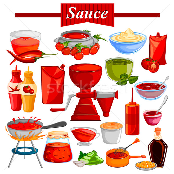 Food and Spice ingredient for Chilli and Tomato Ketchup or Sauce Stock photo © vectomart