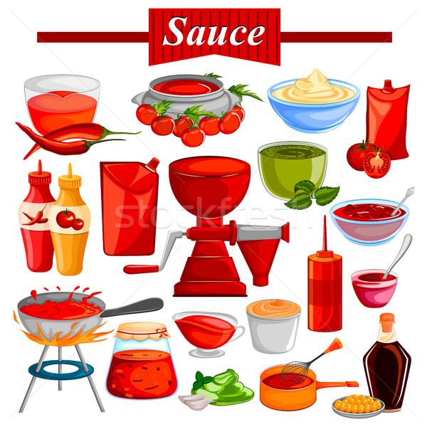 продовольствие Spice ингредиент чили томатный кетчуп Сток-фото © vectomart