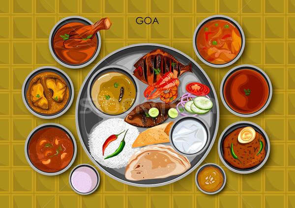 Tradizionale cucina alimentare pasto goa India Foto d'archivio © vectomart