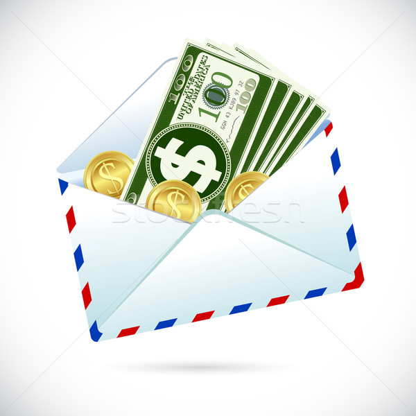 Dollars enveloppe illustration dollar note pièce Photo stock © vectomart